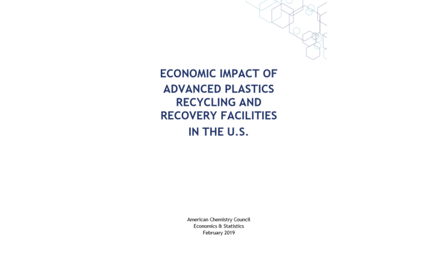Economic output from technologies that recycle and recover plastics could be US$10 billion, suggests American Chemistry Council