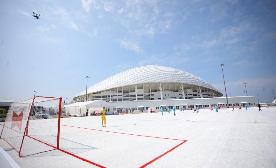 Soccer pitch made using plastic cups unveiled in Sochi, Russia